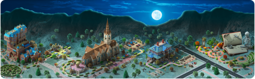 Halloween in Megapolis Background