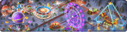 Winter Amusement Park Background