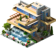 House by a waterfall