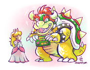 Bowser and peach being cute by raizy-d9wut23