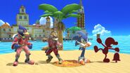 Red Game & Watch, Red Sonic the Hedgehog, Red Fox McCloud, and Red Falco Lombardi in Delfino Plaza in Super Smash Bros Ultimate