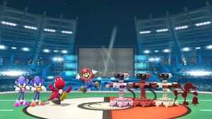 Game & Watch, Three R.O.B.s, Mario, Yoshi, and Two Sonics in 8-Player Smash in Super Smash Bros Wii U
