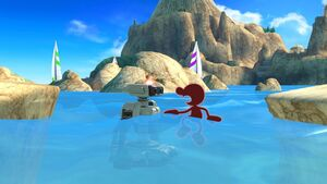 Red Game & Watch and Red R.O.B. (Robotic Operating Buddy) Swimming in Super Smash Bros. Ultimate