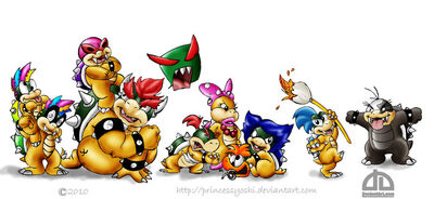 Bowser, BJ, and the koopalings