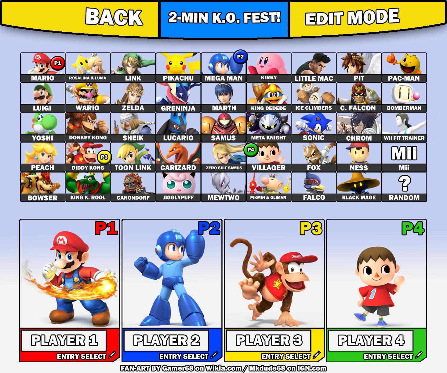 Super Smash Bros 3DS Amp Wii U Fan Roster UPDATE