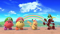 Red Game & Watch, Red Pikachu, Yellow Kirby, and Red Kirby in Rainbow Cruise in Super Smash Bros Ultimate
