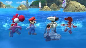 Swimming in Wuhu Island in Super Smash Bros Wii U