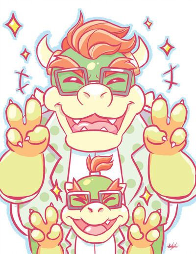 Hipster bowser and bowser jr