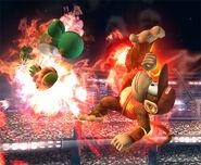 Diddy Kong quemando a Yoshi con el Curry superpicante SSBB