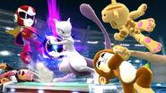 Mewtwo y cuatro Lucahdores Mii con atuendos de DLC en el Estadio Pokémon 2 SSB4 (Wii U)