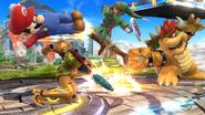 Mario, Link, Bowser y Samus en el Campo de Batalla SSB4 (Wii U)