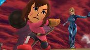 Samus Zero junto a una Mii Karateka en Hal Abarda SSB4 (Wii U)