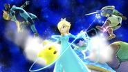 Estela realizando antigravedad contra Link y Samus Zero en Galaxia Mario SSBWiiU