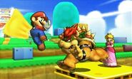 Mario, Bowser y Peach en Super Mario 3D Land SSB4 (3DS)