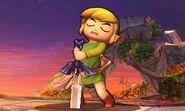 Toon Link con la espada maestra en el Campo de Batalla SSB4 (3DS)