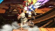 Ryu y Mario en el Castillo de Suzaku SSB4 (Wii U)