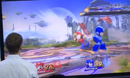 Mario usando su ACUAC en SSB4 (Wii U)