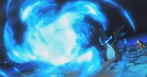 Mega-Charizard X usando Llamarada en Pokémon Los Orígenes