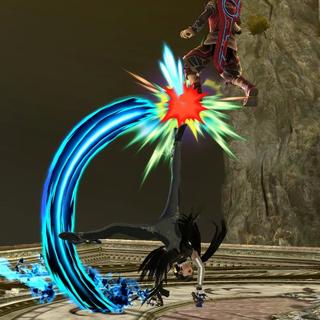 Bayonetta dando la patada hacia arriba tras usar el movimiento en tierra en <i><a href=