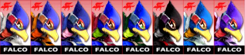 Paleta de colores de Falco SSB4 (3DS)
