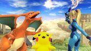 Samus Zero, Pikachu y Charizard en el Reino del Cielo SSB4 (Wii U)