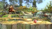 Donkey Kong, Kirby, Link y Yoshi en el Vergel de Esperanza (versión Destino Final) SSB4 (Wii U)