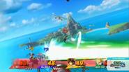 Genesect usando el disparo potente de tecno shock en Pilotwings SSB4 (Wii U)