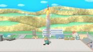 Jeff lanzando un cohete botella SSB4 (Wii U)