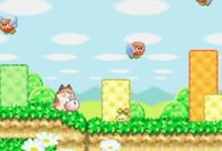 Kirby junto a varios Brontos en Kirby's Dream Land 3