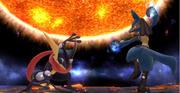 Lucario y Greninja en Destino Final SSB4 (Wii U)