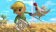 Toon Link siendo perseguido por un Cuco SSBU