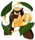 Artwork de Wood Man usando el Leaf Shield en Mega Man 2