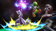 Mewtwo, Yoshi y R.O.B. en la Estación espacial SSB4 (Wii U)