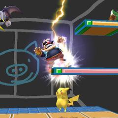 Pikachu usando Trueno a varios personajes en <i>Super Smash Bros. Brawl</i>.
