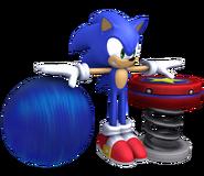 Pose T y de ataque de Sonic junto con el modelo del Muelle SSB4 (Wii U)