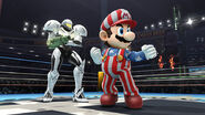 Samus (Coloracion de Traje de Luz) junto a Mario (NES Open Tournament Golf) SSB4 (Wii U)