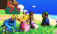 Samus Zero, Peach, Zelda y Luigi en la Isla Tórtimer SSB4 (3DS)