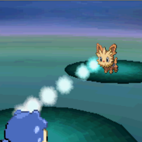 Spheal usando Pistola de agua en <i>Pokémon Blanco</i>.