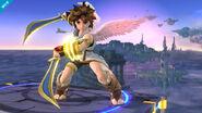 Pit mirando hacia la pantalla SSB4 (Wii U)