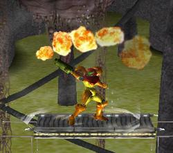 Ataque Smash hacia arriba de Samus (2) SSBM