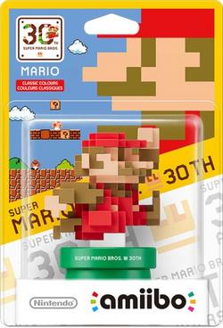 Embalaje del amiibo de Mario Colores Clásicos (serie 30 aniversario)