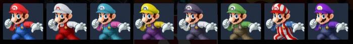 Paleta de colores de Mario SSB4 (3DS)