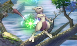 Ataque aéreo normal Mewtwo (2) SSB4 (3DS)