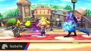 Canela lanzando una fruta a Toon Link SSB4 (Wii U)