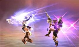 Pit y Pit Sombrio utilizando el Don del vuelo en Kid Icarus Uprising