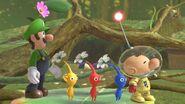Olimar y los Pikmin junto a Luigi SSBU
