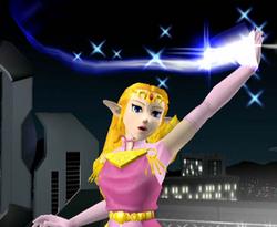 Ataque Smash hacia arriba de Zelda SSBM