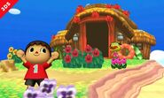 El Aldeano junto al Capitán en la Isla Tortimer SSB4 (3DS)