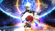 Ness atacando a Sheik en Destino Final SSB4 (Wii U)