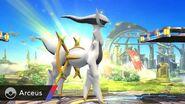 Arceus siendo invocado en el Campo de Batalla SSB4 (Wii U)